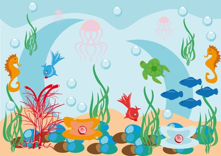 Abstract underwater background with small fishes Stock Vector - 10891527