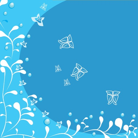 Framework with butterflies and flowers. illustration. Vector