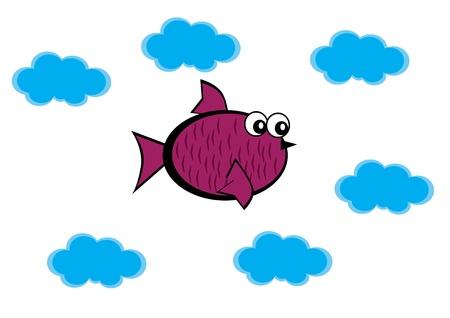 cartoon little bird on isolated background. Illustration. Иллюстрация