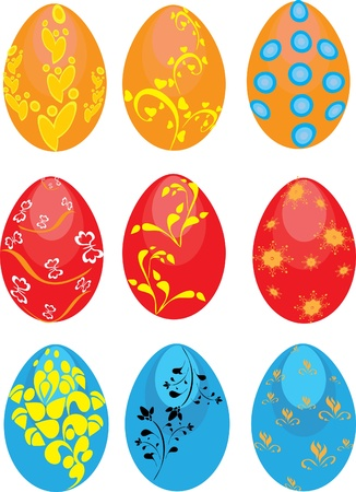 Set of Easter eggs on the isolated background. Illustration Vector