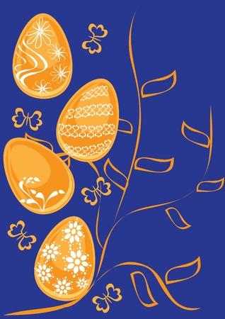 Background with easter eggs . Illustration Vector