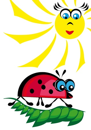 The ladybird is heated on the sun. Illustartion Vector