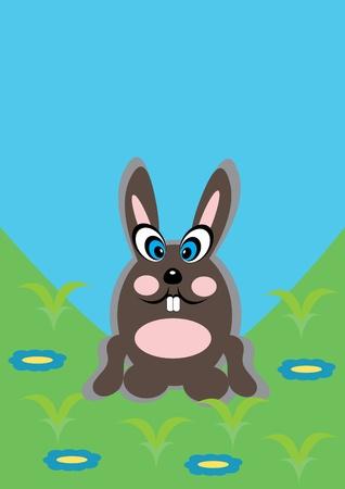 cartoon little rabbit on isolated background. Illustration.
