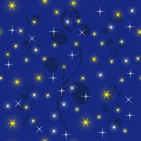night sky with bright stars. Illustration Vector