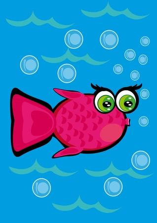 cartoon little fish on isolated background. Illustration.