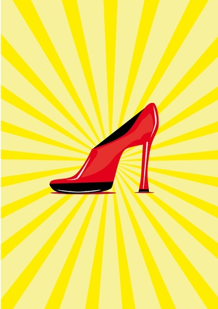 Red shoe on the isolated background. Illustration Stock Vector - 10890129