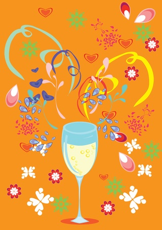Love, glass, wine and butiful background. Illustration. Vector