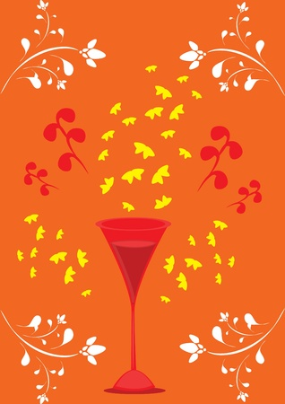 glass with wine on romantic background. Illustration Vector