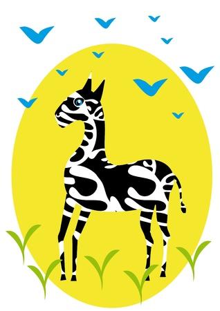 One zebra on isolated background. Illustration. Vector