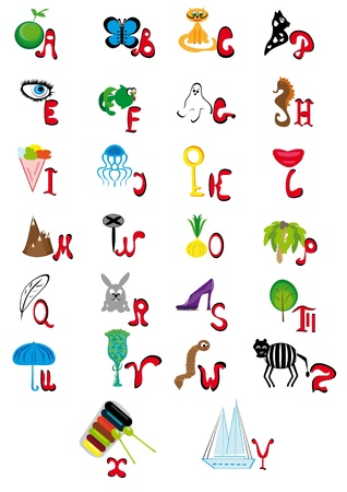 fruit worm: Illustration with the English animated alphabet
