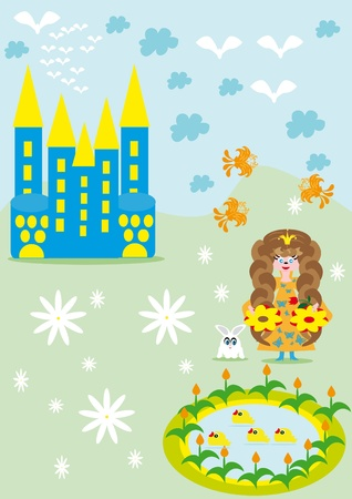 The small girl princess walks about the castle Vector