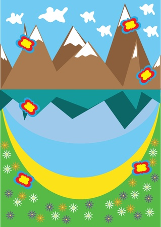 snowcapped landscape: Landscape with mountain lake. Illustration. Illustration