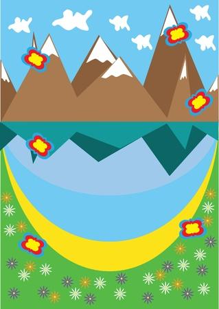 snowcapped mountain: Landscape with mountain lake. Illustration. Illustration