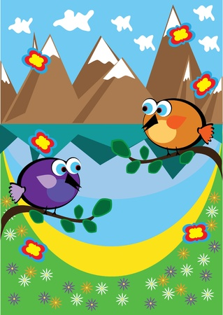 Landscape with mountain lake and bird. Illustration. Stock Vector - 10891515