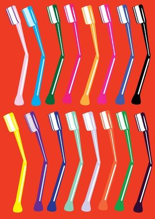 strengthening: Set of tooth-brushes. Illustration.
