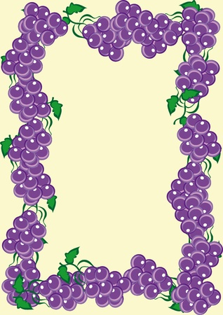 wine register: Abstract frame from rods of dark blue grapes. Illustration
