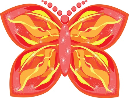 fire butterfly on isolated background. Illustration Vector
