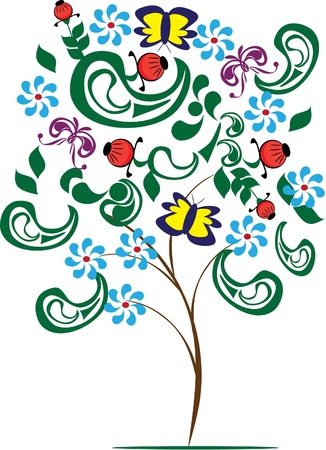 vector isolated abstract tree . Illustration Vector