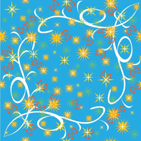 sky with bright stars, flowers and butterflies. Illustration Vector