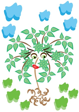 cartoon little tree on isolated background. Illustration. Иллюстрация