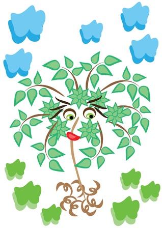 cartoon little tree on isolated background. Illustration. Vector