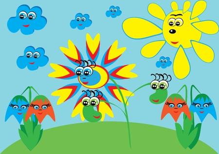 cartoon little flower on isolated background. Illustration.
