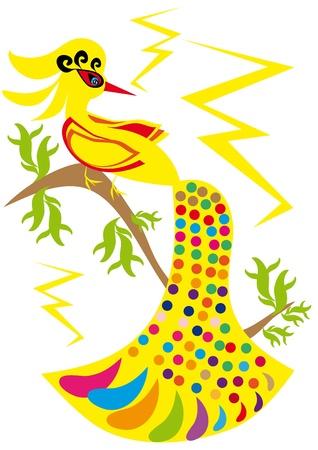 gold bird on isolated background. Illustration. Иллюстрация