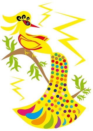 gold bird on isolated background. Illustration. Stock Vector - 10889967