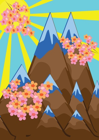 Abstract mountain landscape and pink branches. Illustration Vector