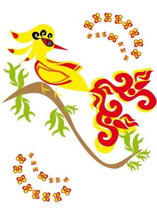 gold bird on isolated background. Illustration. Vector