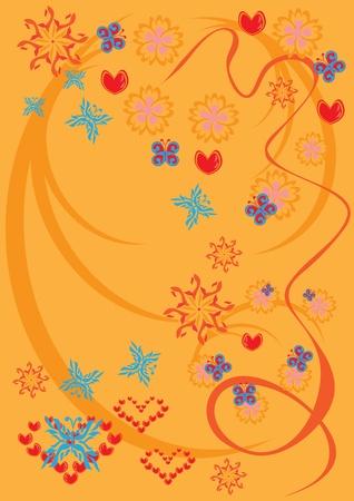 branch to grow up: resumen de antecedentes con flores, mariposas y corazones. ilustraci�n Vectores