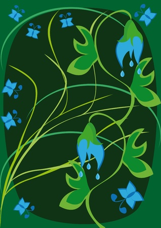 Abstract floral ornament on green. Illustration. Stock Vector - 10890277
