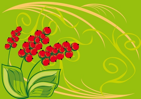 Frame with red berries. illustration.