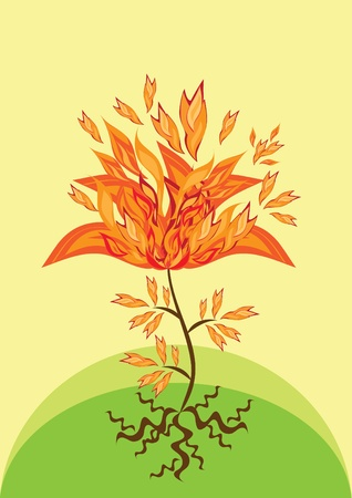 Gold fire flower on isolated background.. Illustration. Stock Vector - 10891456