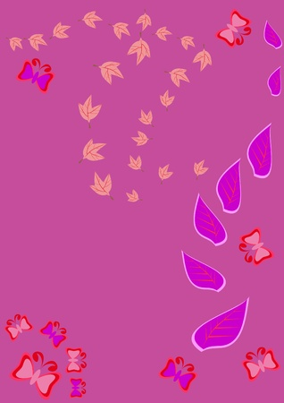 Abstract floral ornament with leaves. Illustration. Vector