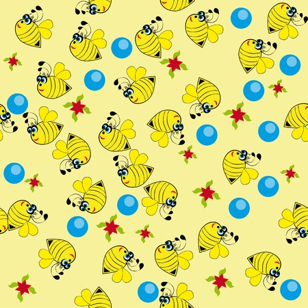 Abstract seamless structure with bees Vector