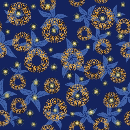 night sky with bright stars and abstract flowers. Illustration Vector