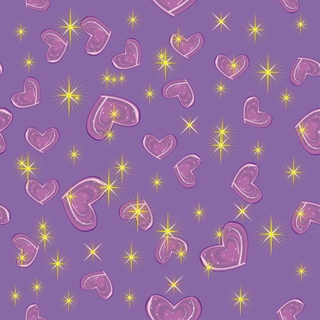 abstract pattern with bright stars and hearts. Illustration Vector