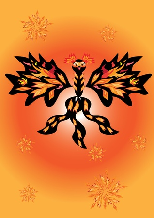 mythical phoenix bird: Beautiful fiery bird in a mask. Illustration