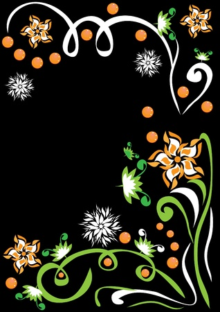 grass blades: abstract background with flowers, butterflies and hearts. illustration