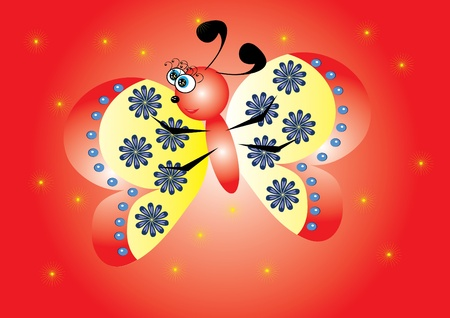 cartoon little butterfly on red background. Illustration. Vector