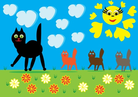 Cat and kittens on walk. Illustration Stock Vector - 10891447