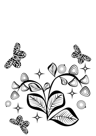 naturally: Abstract pattern with berries and butterflies. Illustration