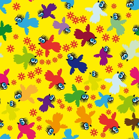 Abstract seamless structure with birds and colors Vector