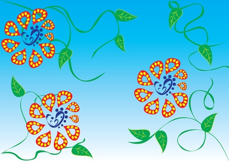 abstract background with flowers, butterflies and hearts. illustration Stock Vector - 10891448