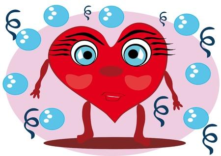 little cartoon heart on isolated background. Illustration. Иллюстрация