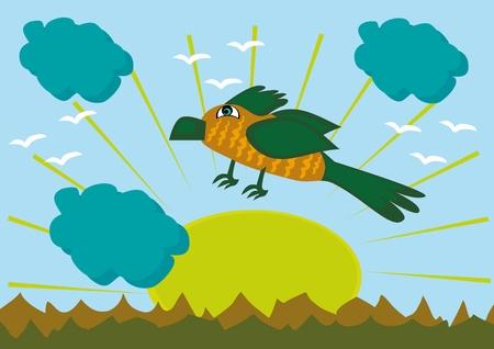 cartoon bird on mountains background. Illustration.