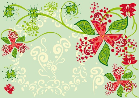 Abstract floral ornament. Illustration. Vektorové ilustrace