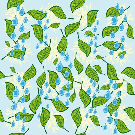 abstract pattern with leaves and rain drops. illustration. Stock Vector - 10891805