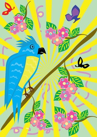ridiculous: Tropical ridiculous parrot and floral background